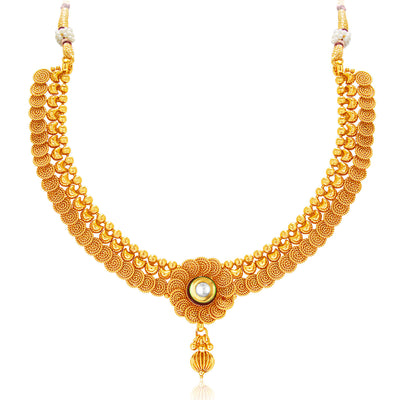 Sukkhi Eye-Catchy Jalebi Design Gold Plated Necklace Set For Women-3