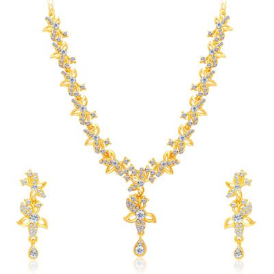 Sukkhi Alluring Gold Plated AD Set of 3 Necklace Set Combo For Women-3