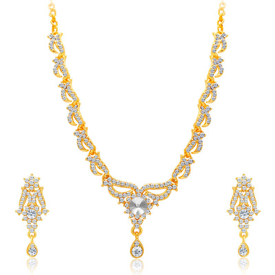 Sukkhi Alluring Gold Plated AD Set of 3 Necklace Set Combo For Women-5