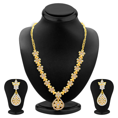 Sukkhi Alluring Gold Plated AD Set of 3 Necklace Set Combo For Women-6