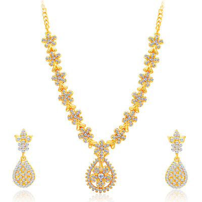 Sukkhi Alluring Gold Plated AD Set of 3 Necklace Set Combo For Women-7