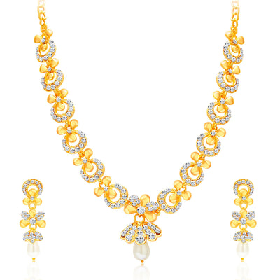 Sukkhi Intricately Gold Plated AD Set of 3 Necklace Set Combo For Women-5