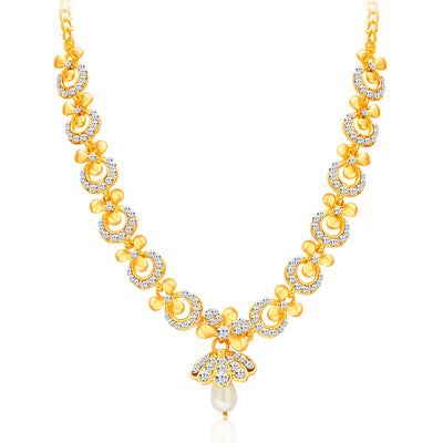 Sukkhi Glittery Gold Plated AD Necklace Set For Women-3
