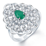 Sukkhi Enchanting Rhodium Plated CZ Emerald Ring