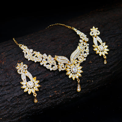 Sukkhi Fabulous Gold Plated AD Necklace Set For Women
