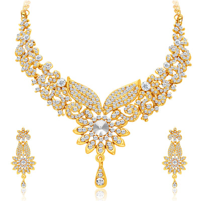 Sukkhi Fabulous Gold Plated AD Necklace Set For Women-1