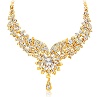 Sukkhi Fabulous Gold Plated AD Necklace Set For Women-3