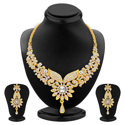 Sukkhi Intricately Gold Plated AD Set of 3 Necklace Set Combo For Women-6