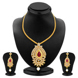 Sukkhi Magnificent Necklace Set Detachable to Pendant Set with Chain and Set of 5 Changeable Stone For Women-4