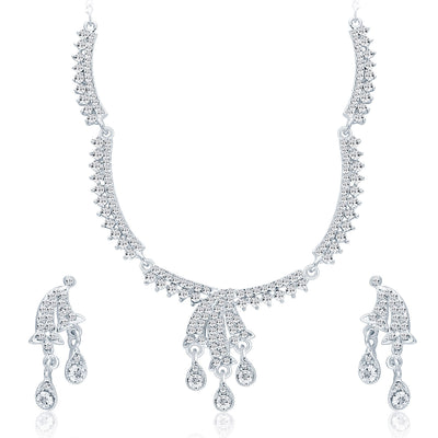 Sukkhi Attractive Rhodium Plated AD Necklace Set For Women-1