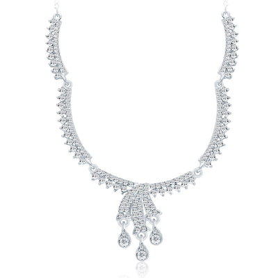 Sukkhi Attractive Rhodium Plated AD Necklace Set For Women-3