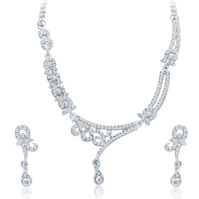 Sukkhi Trendy Rhodium Plated AD Necklace Set For Women-1