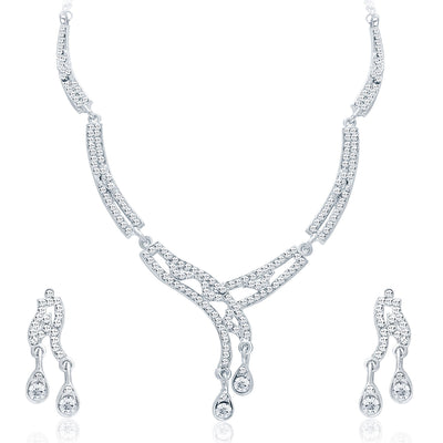 Sukkhi Classy Rhodium Plated AD Necklace Set For Women-1