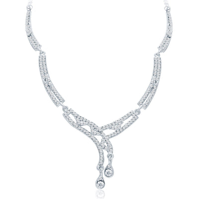 Sukkhi Classy Rhodium Plated AD Necklace Set For Women-3