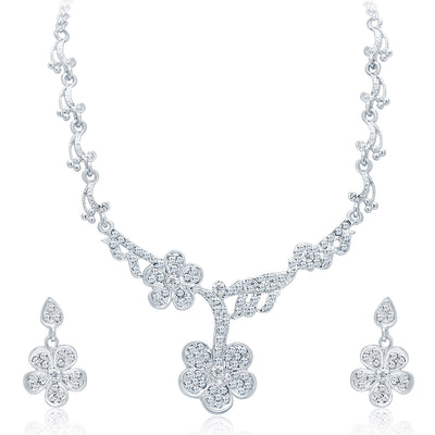 Sukkhi Intricately Crafted Rhodium Plated AD Necklace Set For Women-1