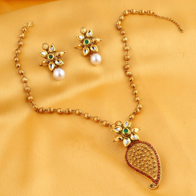 Sukkhi Stylish Gold Plated Kundan Necklace Set For Women