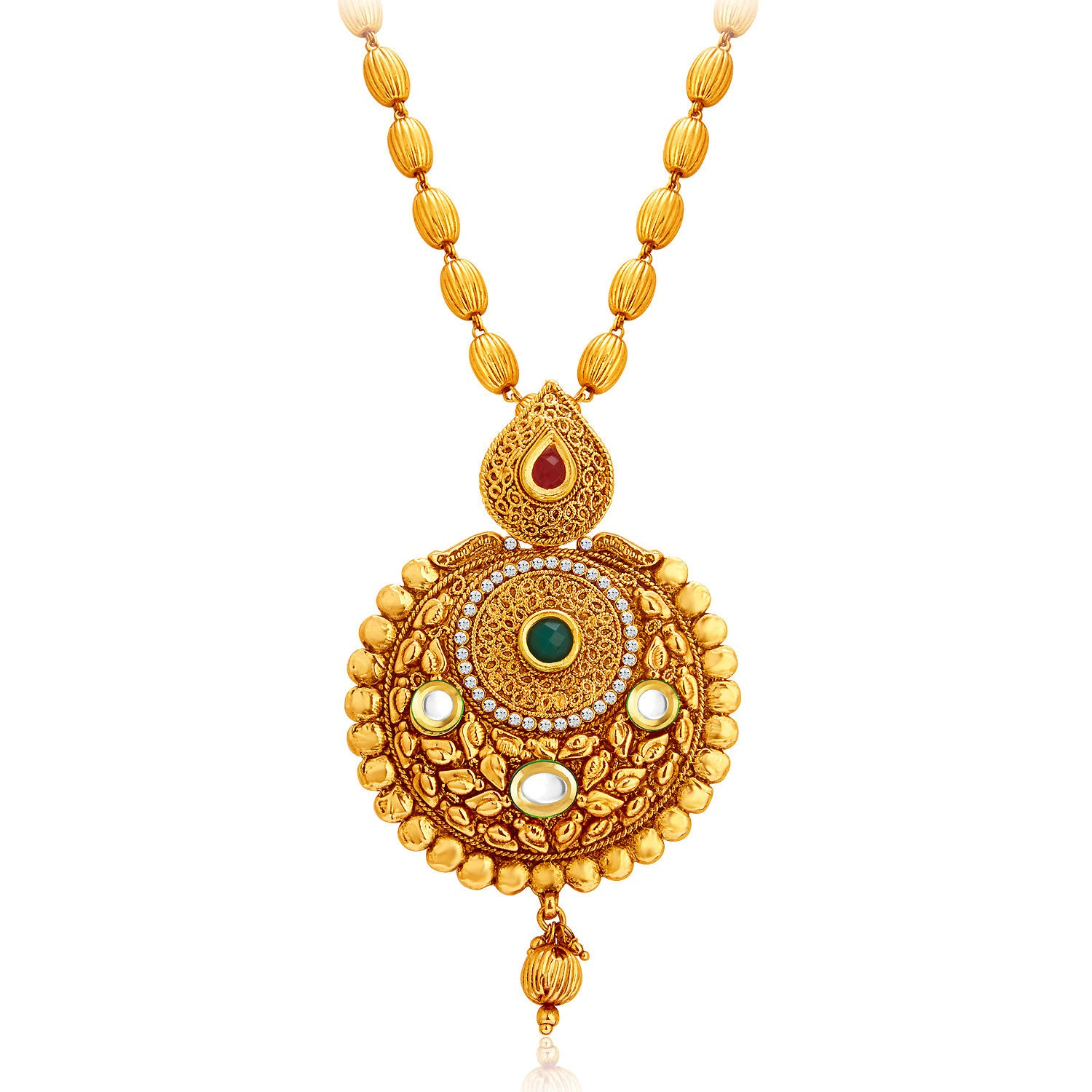 Sukkhi Traditional Gold Plated Necklace Set: Sukkhi Astonish Gold Plated Kundan Necklace Set For Women