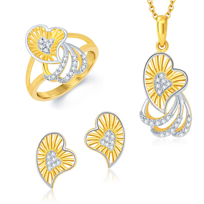 Sukkhi Gracefull Gold and Rhodium Plated CZ Pendant Set Ring Combo