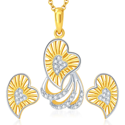 Sukkhi Gracefull Gold and Rhodium Plated CZ Pendant Set Ring Combo1