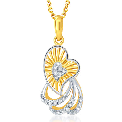 Sukkhi Gracefull Gold and Rhodium Plated CZ Pendant Set Ring Combo-2