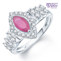 0270 Pissara Pleasing Rhodium Plated CZ Ruby Ring