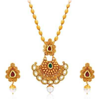 Sukkhi Marvellous Gold Plated Kundan Necklace Set For Women-1