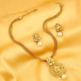 0018 Sukkhi Graceful Gold Plated Kundan Necklace Set For Women