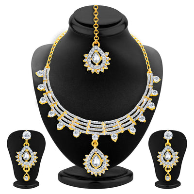 Sukkhi Exotic Gold & Rhodium Plated AD Necklace Set For Women