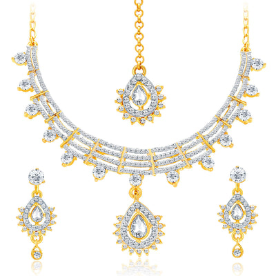Sukkhi Exotic Gold & Rhodium Plated AD Necklace Set For Women-1