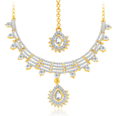 Sukkhi Exotic Gold & Rhodium Plated AD Necklace Set For Women-3
