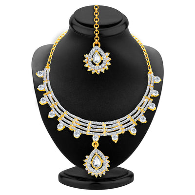 Sukkhi Exotic Gold & Rhodium Plated AD Necklace Set For Women-2