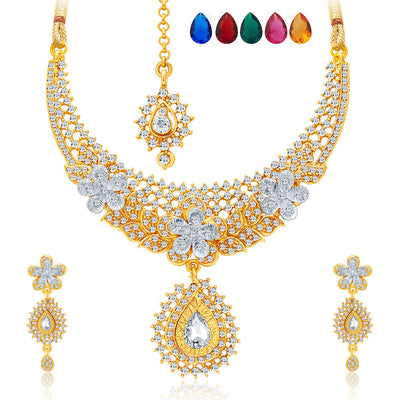 Sukkhi Stunning Gold and Rhodium Plated AD Necklace Set with Set of 5 Changeable Stone For Women-1