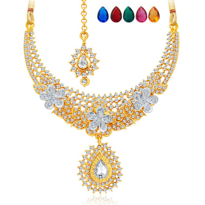 Sukkhi Stunning Gold and Rhodium Plated AD Necklace Set with Set of 5 Changeable Stone For Women-3