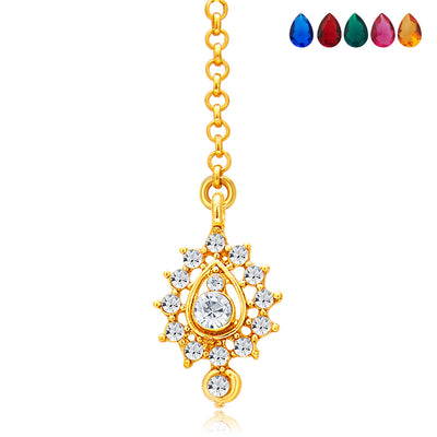 Sukkhi Stunning Gold and Rhodium Plated AD Necklace Set with Set of 5 Changeable Stone For Women-7