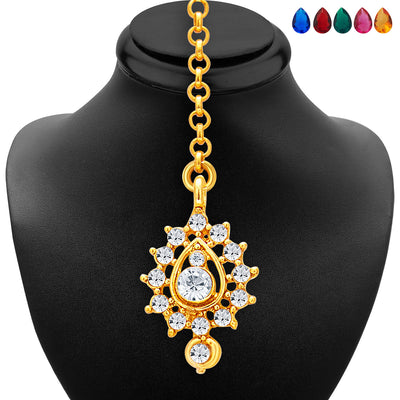 Sukkhi Stunning Gold and Rhodium Plated AD Necklace Set with Set of 5 Changeable Stone For Women-6