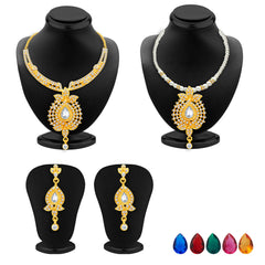 Sukkhi Delightly Necklace Set Detachable to Pendant Set with Mala and Set of 5 Changeable Stone