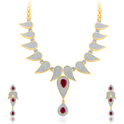 Pissara Distinctive Gold And Rhodium Plated Ruby CZ Neklace Set For Women