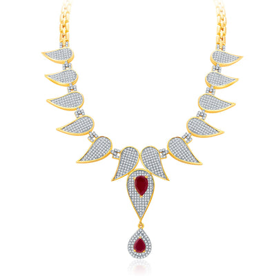 Pissara Distinctive Gold And Rhodium Plated Ruby CZ Neklace Set For Women-1