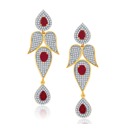 Pissara Distinctive Gold And Rhodium Plated Ruby CZ Neklace Set For Women-2