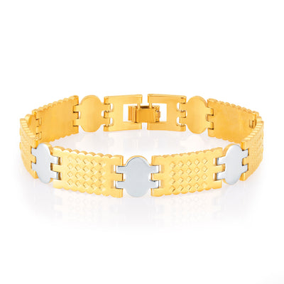 Sukkhi Gracefull Gold and Rhodium Plated Bracelet For Men