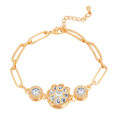 Pissara Intricately Solitaire Gold Plated CZ Bracelet For Women