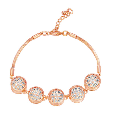 Pissara Glittery Solitaire Gold Plated CZ Bracelet For Women