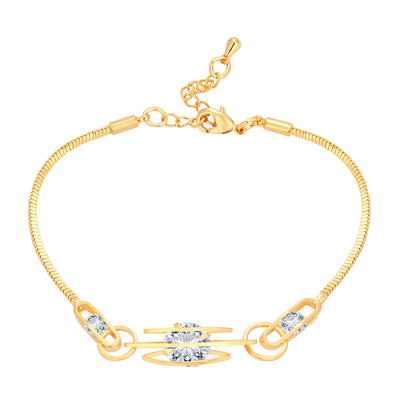 Pissara Youthful Solitaire Gold Plated CZ Bracelet For Women