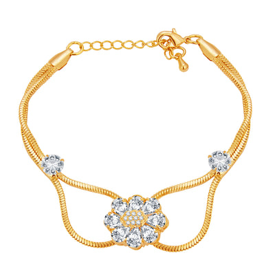 Pissara Sleek Solitaire Gold Plated CZ Bracelet For Women