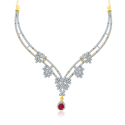 Pissara Engaging Gold And Rhodium Plated Ruby CZ Neklace Set For Women-1