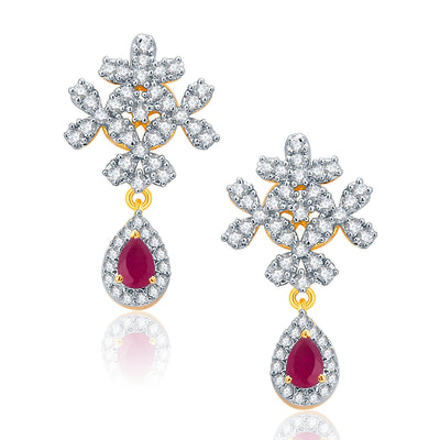 Pissara Engaging Gold And Rhodium Plated Ruby CZ Neklace Set For Women-2