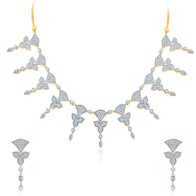 Pissara Enticing Gold And Rhodium Plated CZ Neklace Set For Women