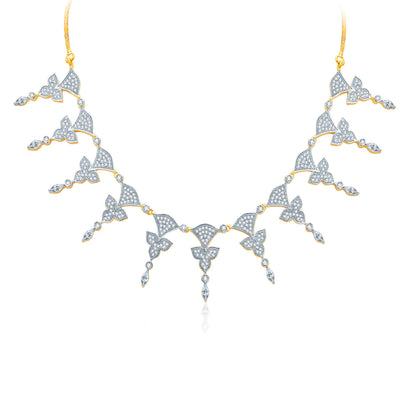 Pissara Enticing Gold And Rhodium Plated CZ Neklace Set For Women-1