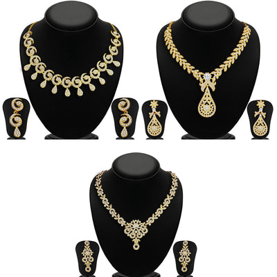 Sukkhi Glimmery 3 Pieces Necklace Set Combo