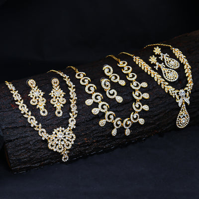 Sukkhi Glimmery 3 Pieces Necklace Set Combo - Gold